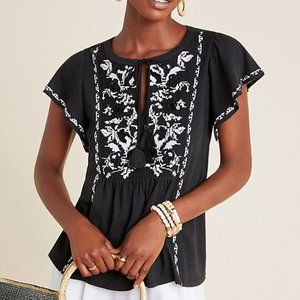 Anthropologie Alexandrine Embroidered Blouse XS